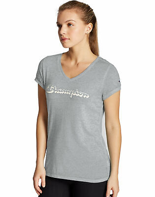 Champion V-Neck Tee T-Shirt Women's Authentic Wash Shadow Sc