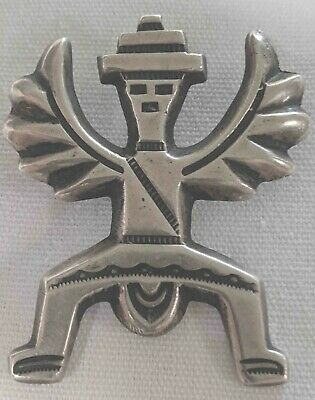 VINTAGE Sand Cast NATIVE ZUNI Silver Collectible KNIFEWING Pin  Horace -