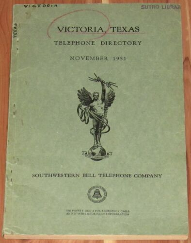 1951 TEXAS TELEPHONE DIRECTORY, VICTORIA, RESIDENT & BUSINESS