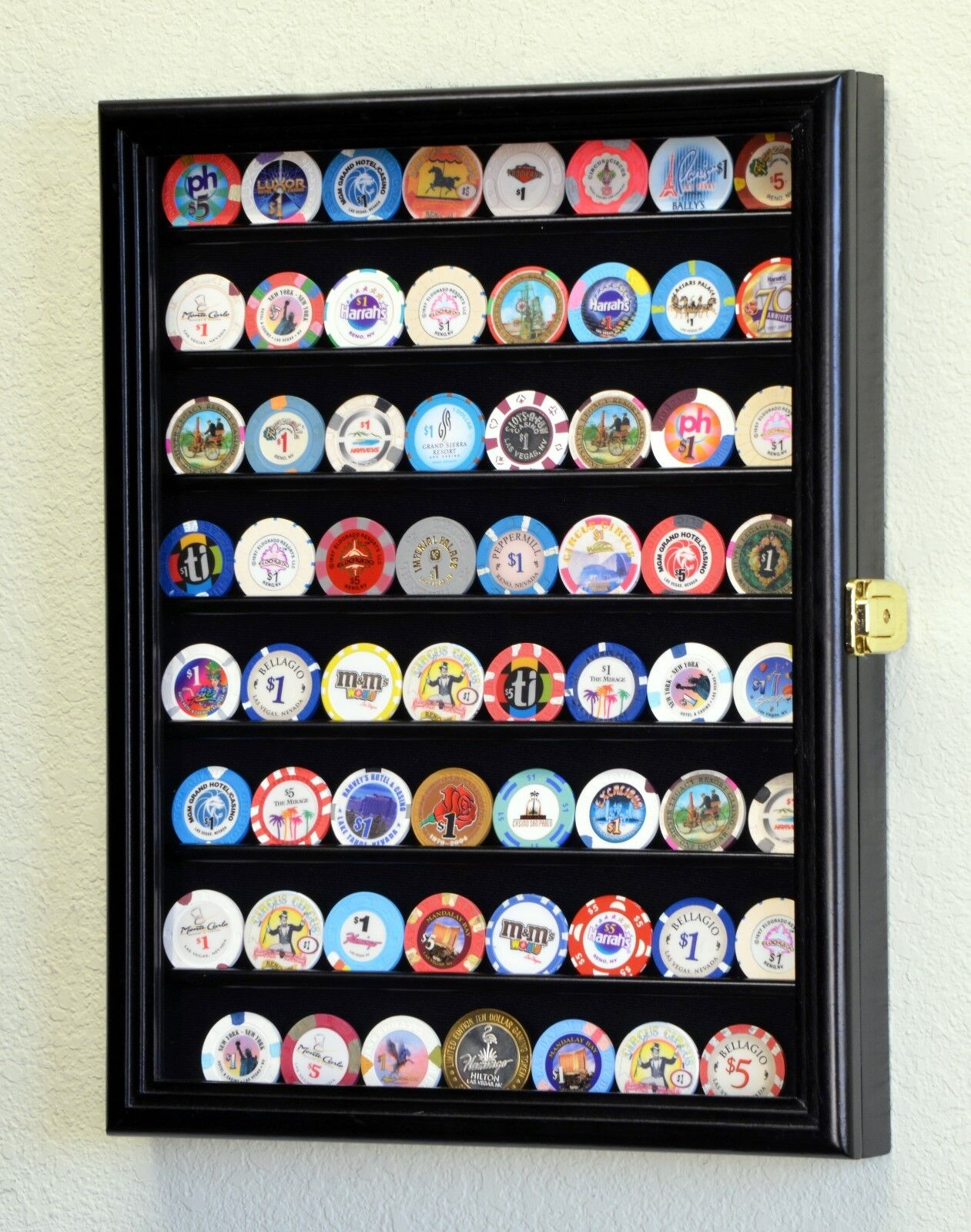 64 Casino Chip Coin Display Case Cabinet Chips Holder Wal...
