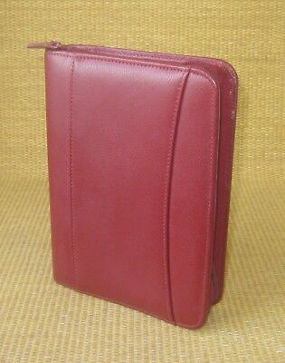 Compact 1 Rings Red Flex Leather Franklin Covey Zip Plannerbinder