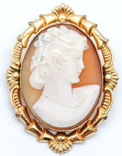 """Vintage Cameo Pendant & Brooch Gold Plated 1 3/4"""" Estate Jewelry"""