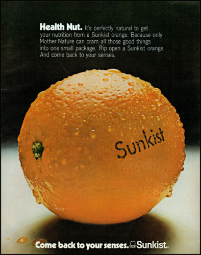 1972 Sunkist Oranges fruit mother nature health nut retro photo print ad L73