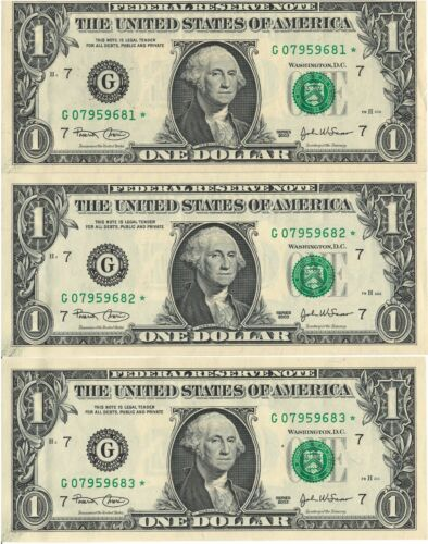 UNITED STATES CONSECUTIVE *STAR* NOTE ONE DOLLAR BILLS SERIES 2003