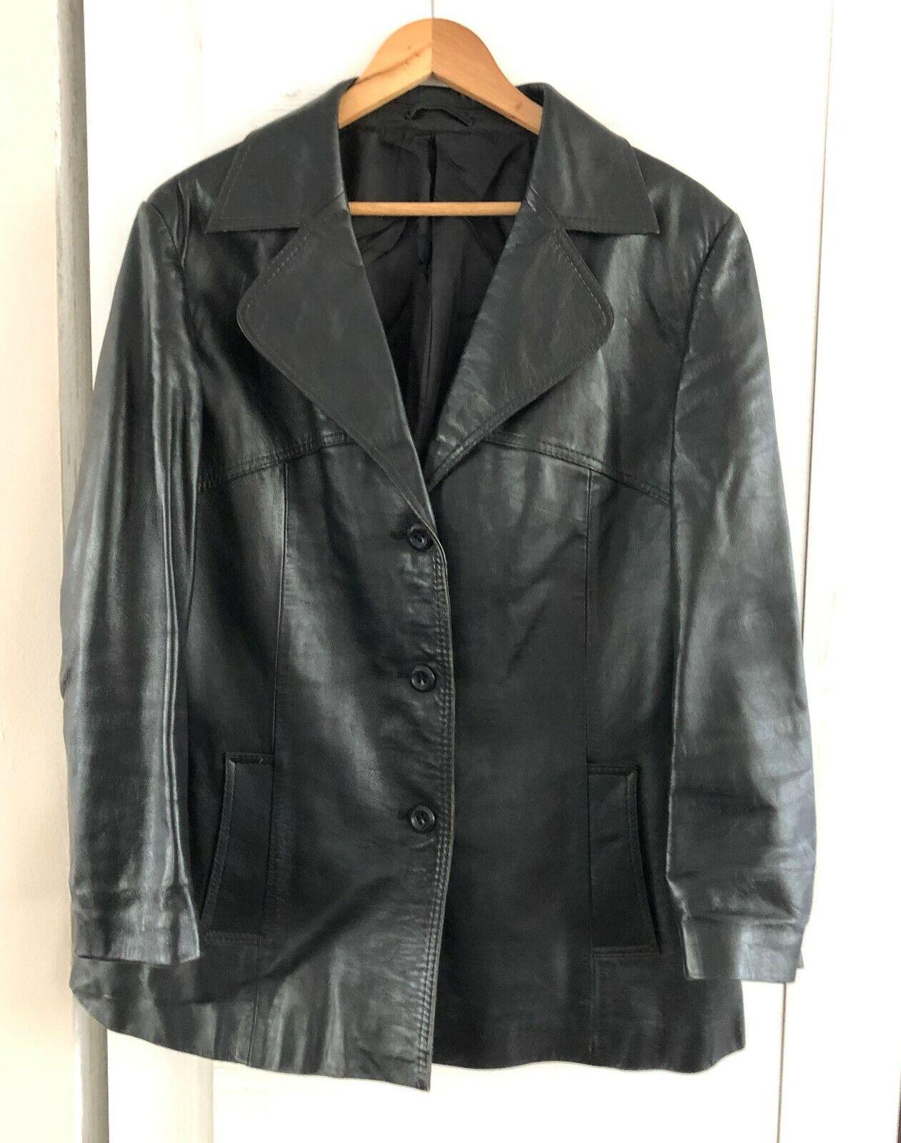 Herren 1970 Mode Schöpfung BEROLINA schwarz Leder Jacke Blazer Gr. 48