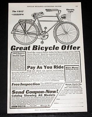 1917 OLD MAGAZINE PRINT AD, ARROW BICYCLE WITH ELECTRIC LIGHT, PAY AS YOU RIDE!