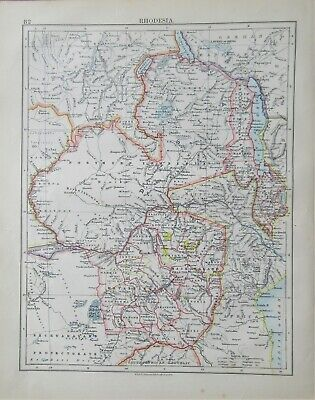 1895 antique map of Rhodesia by W & A K Johnston
