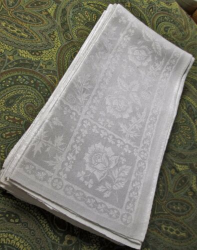 6 & 1 Fabulous Antique Linen Damask Lapkins THISTLES ROSES SHAMROCKS Hand Hemmed