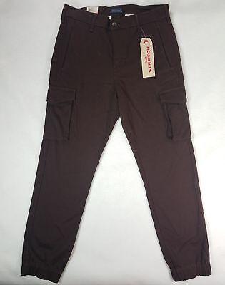 Levis Mens Banded Slim-Fit Cargo Jogger Pants- Dark Coffee Brown -