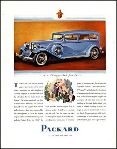 1932 Packard Automobile Twin Six Car social couples vintage art print ad L30
