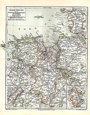 Oldenburg Deutsche Strommündungen  Nordsee Helgoland Elbe Weser LANDKARTE 1908