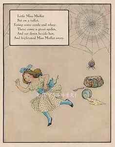 Little-Miss-Muffet-Spider-Curds-Mother-Goose-1912-ANTIQUE-VINTAGE-COLOR-PRINT