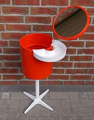Schmink Tonne 60er 70er Vintage Spiegel Design Space orange Tisch Schminktisch