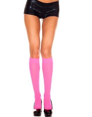 Neon Hot Pink Hosiery Knee Trouser Socks Halloween 80's Stockings Nylon Glow Run - Neon Pink Stockings