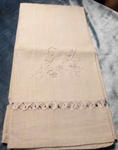 Antique Italian Linen Bath Towel Ornamental Embroidery G A Monogram