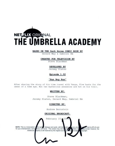 Cameron Britton Signed Autographed THE UMBRELLA ACADEMY Episode 2 Script COA