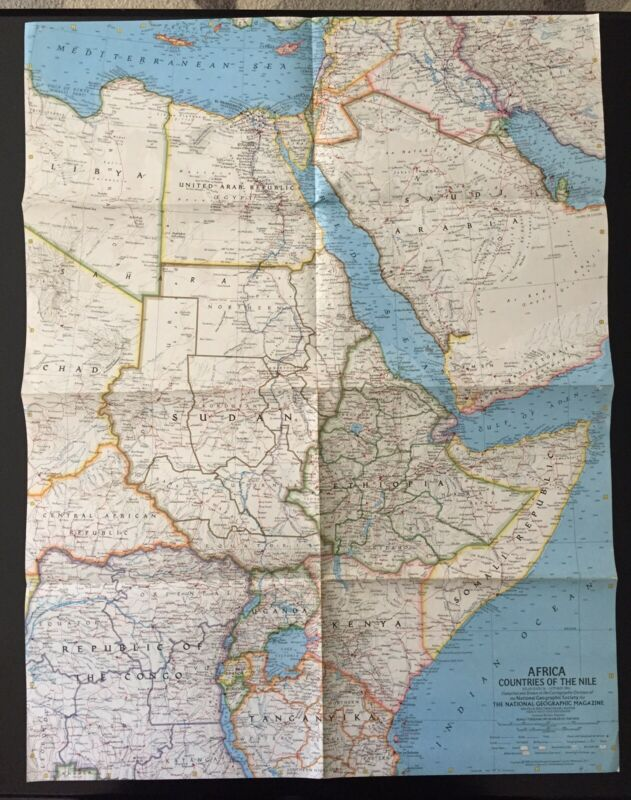 Vintage 1963 National Geographic Society Africa Countries of the Nile