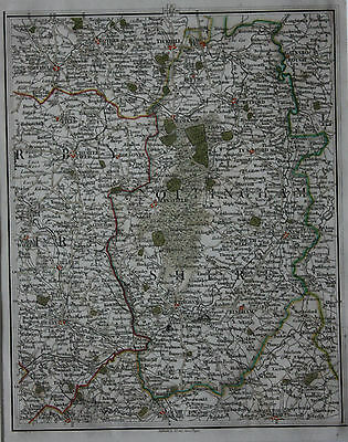 Original antique map DERBYSHIRE, NOTTINGHAM, CHESTERFIELD, NEWARK, Cary, 1794