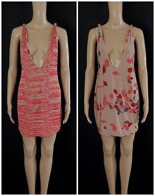 MISSONI MARE Red Beige Reversible Knit Deep V-neck Mini Tank Dress Sz S