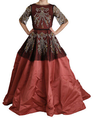 DOLCE & GABBANA Dress Crystal Chandelier Silk Princess Gown IT40/ US6 / S $31000