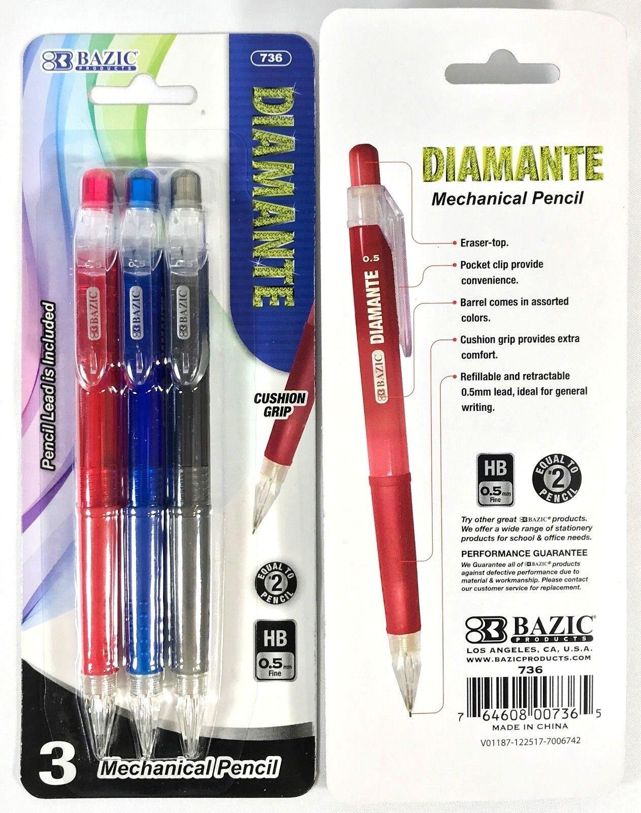 3 Bazic Diamante Mechanical Lead Pencil cushion Grip 0.5mm F