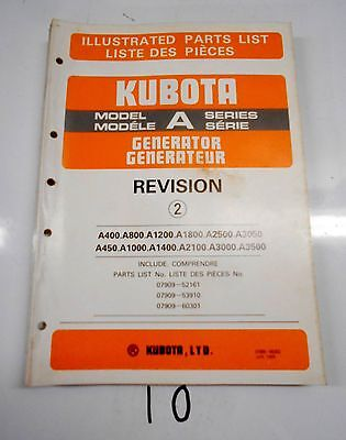 Kubota Tractor Model Series A Generator Parts Catalog Manual  685