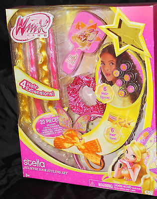NEW   Winx Club Stella Believix Hair Styling Set Dress Up 20 pieces