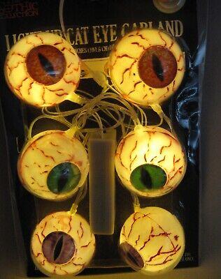 6 Lighted Eyeballs Garland Cat Eyes Eyeball Scary Animal Halloween Party Props