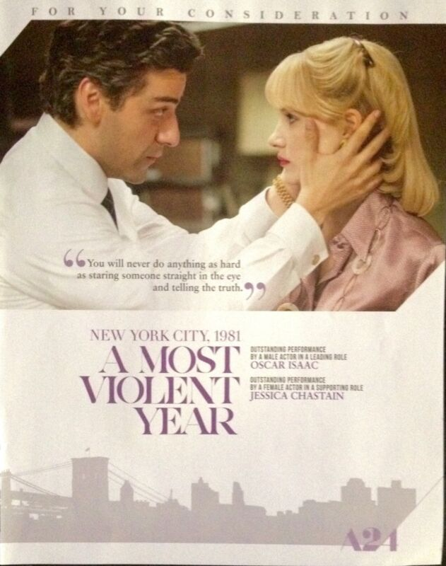 A MOST VIOLENT YEAR Oscar advertisement Oscar Isaac Jessica Chastain FYC ad