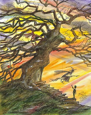 THE WITCH TREE SWING Halloween Sunset Oak Witches Signed Print JOHN RANDALL YORK (The Halloween Tree Art)