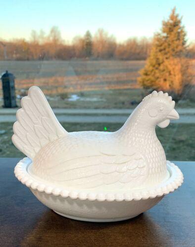 "Vintage 8"" White Milk Glass Hen on Nest Chicken Covered Candy Dish"