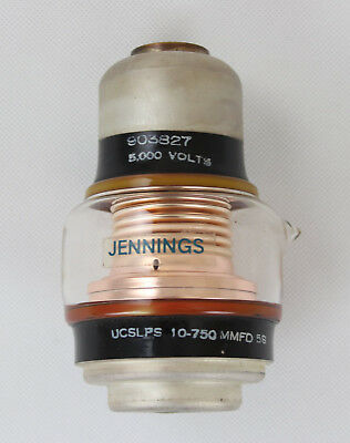 Jennings Ucslps 10-750 5s Glass Vacuum Variable Capacitor 5000v 10-750pf