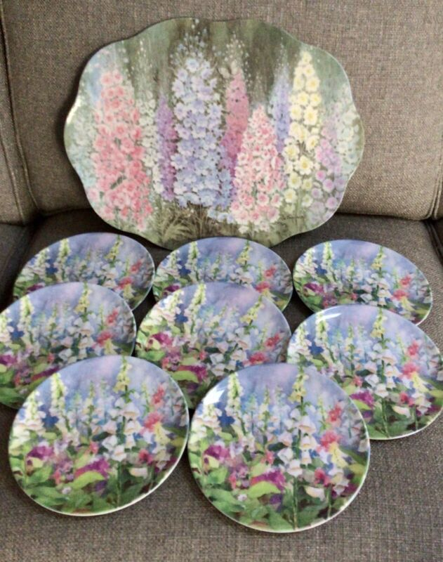Gorgeous Keller Charles Floral Melamine Tray And 8 Plates