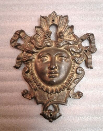 Antique Victorian Large Brass Escuthneon Keyhole Cover Womans Face