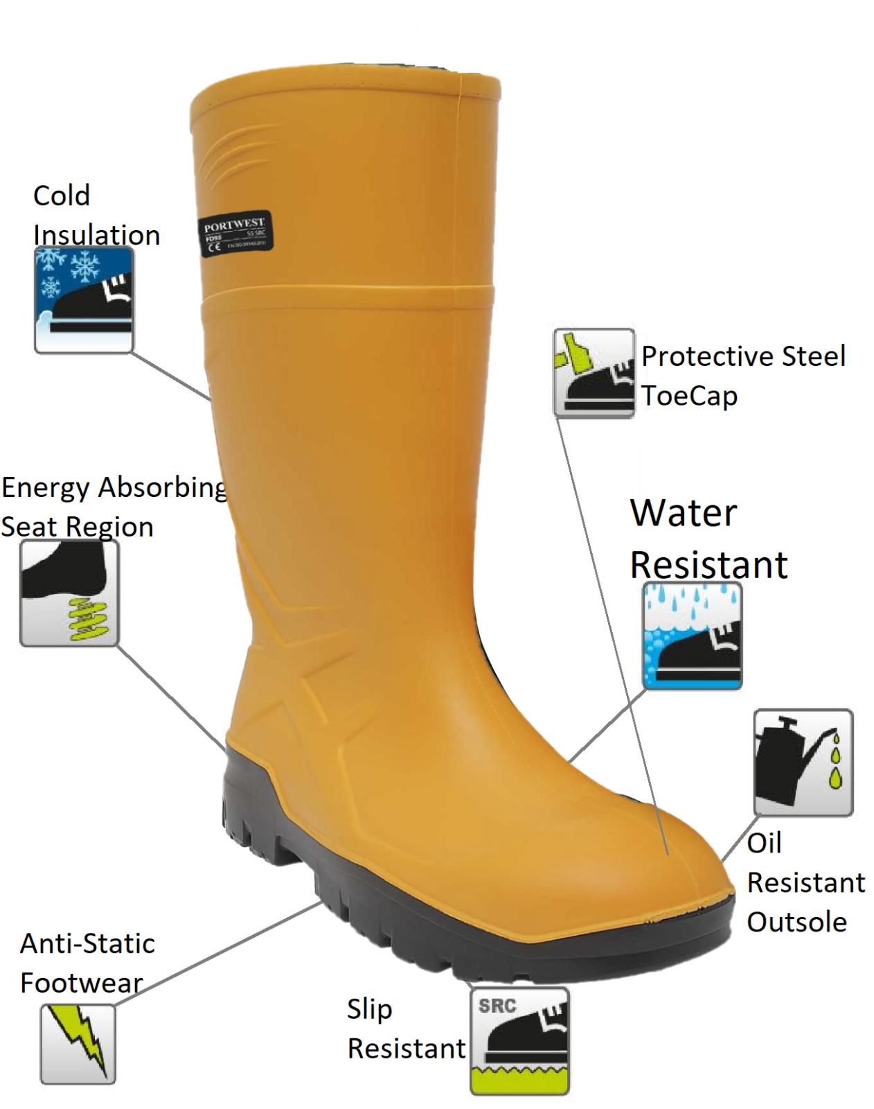 Portwest Wellington Wellies Thermal Lightweight Boots Like Dunlop Purofort FD90