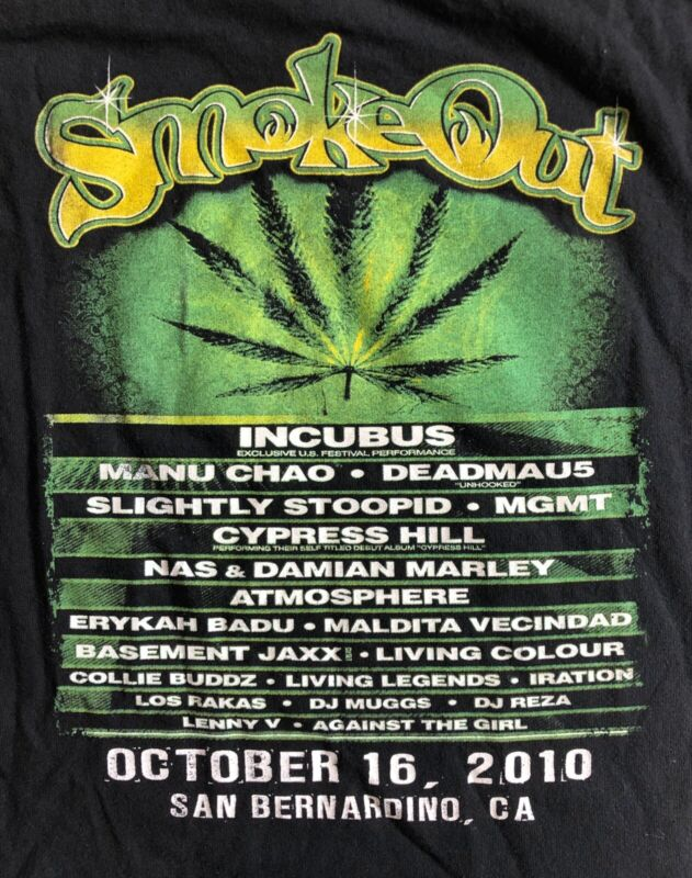 2010 Smoke Out 4:20 Harvest Concert T-shirt Cypress Hill Incubus NAS DISTRESSED