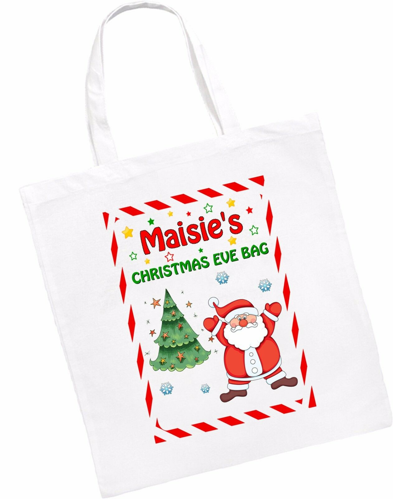 Personalised Christmas Eve Drawstring Long Or Short Handles Tote Bag ...