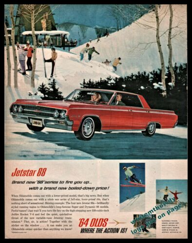 1964 OLDSMOBILE 88 Red 4-dr Hardtop Classic Car AD skiers ski lodge skiing art