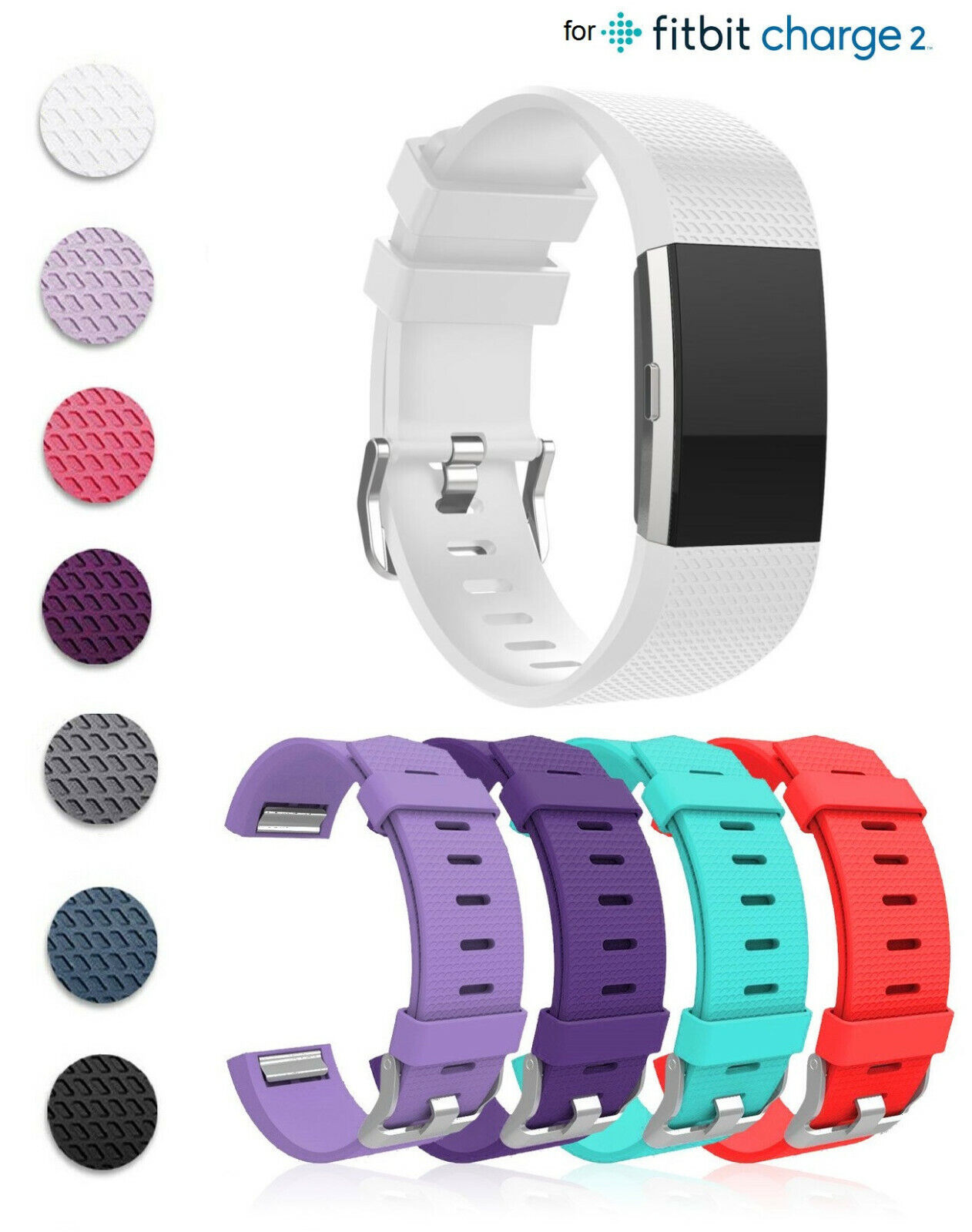 for FitBit Charge 2 Sports Silicone Replacement Adjustable Buckle Band Bracelet Fit Tech Parts