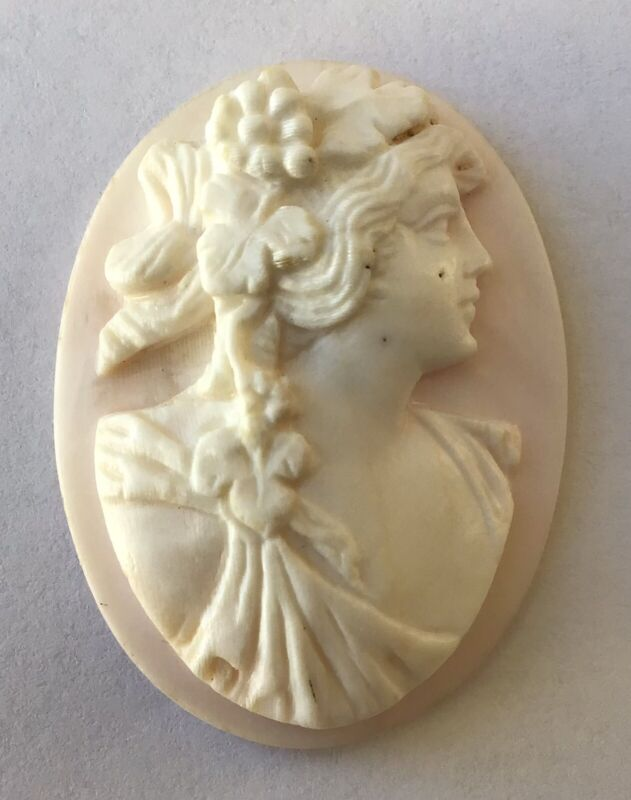 """Vintage Loose Cameo for Jewelry Making, 1.5""""L"""