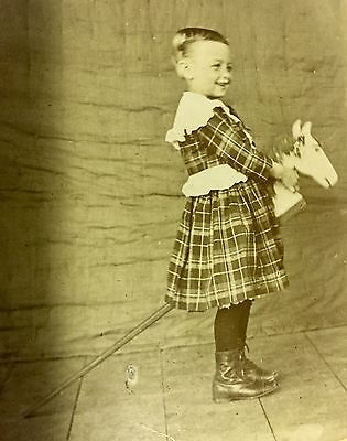 Crazy Antique Photo Boy In Dress & Boots Riding A Pogo Horse & Provenance 1903  ()