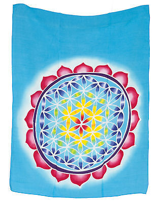 Batik in Passant Chakra Flower of the Life Hanging Cotton Handmade 68x54cm 6688