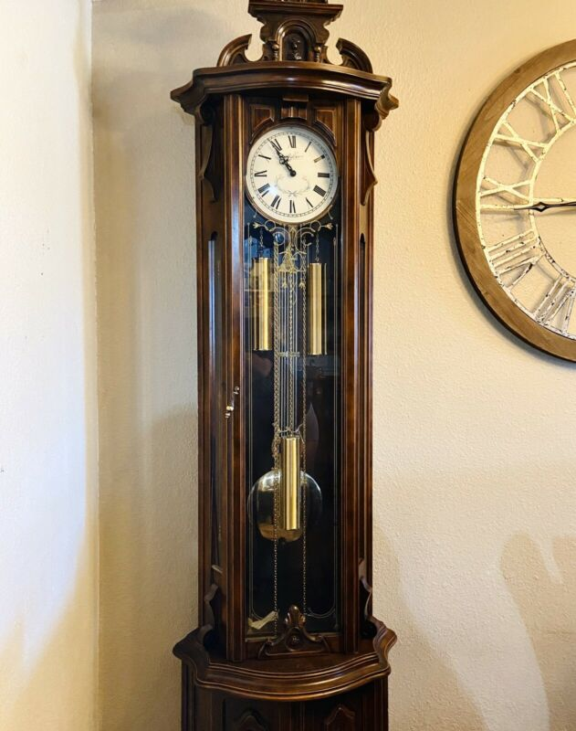 Gastor Hermle Hand Crafted Italian Antique Grandfather Clock Solid Mahogany Wood