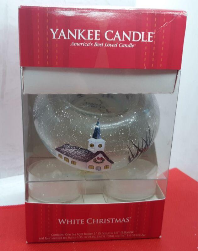 YANKEE CANDLE White Christmas Tea Light Holder & 4 Tea Lights New Old Stock
