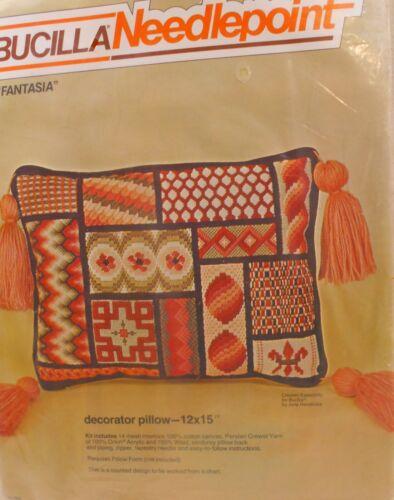 """NIP Vintage Bucilla Needlepoint Kit #4830  Bargello Pillow 12""""x 15"""" FANTASIA"""