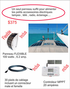 Kit panneau solaire FLEXIBLE 100 watts Vr, fifth whells,roulotte