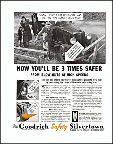 1933 Family Car wreck Goodrich Silvertown tires Akron vintage photo print ad XL2