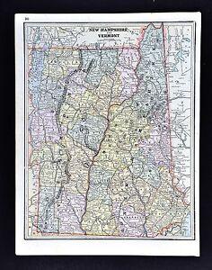 1891 Watson Atlas Map - New Hampshire Vermont - Montpelier Concord Mt Washington