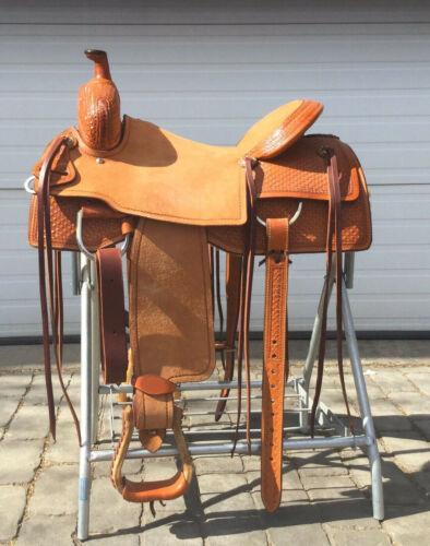 """Western Hot seat saddle 16""""on eco-leather buffalo chestnut on drum dye finished"""