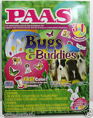 Easy Kids Halloween Decorations (PAAS® BUGS & BUDDIES 3IN1 EGG DECORATING KIT EASY CHILD SAFE COLORING)